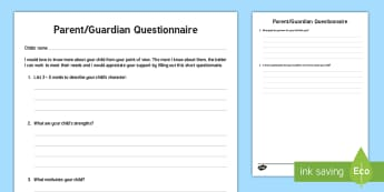 Parent/ Guardian Questionnaire Letter - parent questionnaire, parental involvement, parent, targets, goals, transition, back to school, new