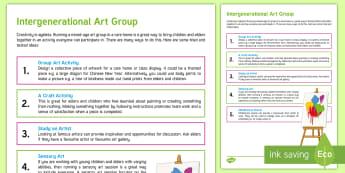 Intergenerational Art Group Teaching Ideas - Intergenerational Ideas, Art Group, Creativity, Ideas, Activity Co-ordinator Support, Teachers, Scho
