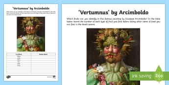 Vortumnus by Arcimboldo Activity Sheet - artist, art appreciation, Arcimboldo, work sheet, activity sheet, Vortumnus,Irish, fruit, food, pain