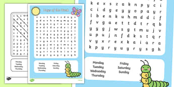 Days of the Week Wordsearch - days, week, wordsearch, search