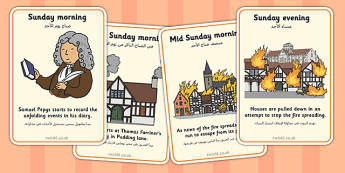 The Great Fire of London Events Timeline Cards Arabic Translation - arabic