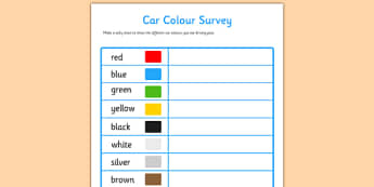 Car Colour Survey - traffic, car colour, colour, cars, survey, how many cars, red, black, green, white