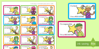 ROCKSTAR Behaviour Management Stickers - New Zealand, Class Management, Behaviour Management, ROCKSTAR, Responsible, Organised, Cooperative,