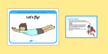 Superhero Flying Cool-Down Activity Card - physical activity, foundation stage, physical development, games, dance, gymnastics
