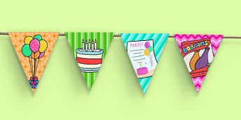 9th Birthday Party Picture Bunting - 9th birthday party, birthday party, 9th birthday, bunting