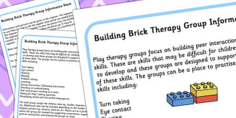 Building Brick Therapy Group Information Sheet - group discussion, lego