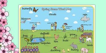 Spring Scene Word Mat - spring, scene word, mat, word mat, scene