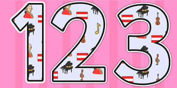 Wolfgang Armadeus Mozart Themed Display Numbers - wolfgang amadeus mozart, mozart,display numbers, themed number, classroom number, numbers for display