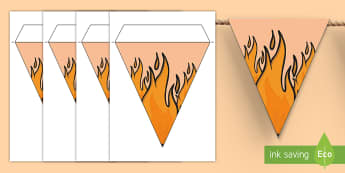 Flame Themed Display Bunting - Flame Themed Display Bunting - The Great Fire of London, fire, flames, flame, history, year 2, y2, k