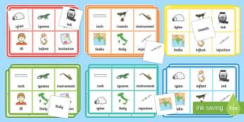 Initial i Sound Bingo and Lotto Game - initial i, sound, bingo, lotto, game, activity, pack