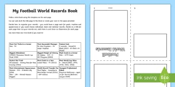 My Football World Records Book  Activity Sheet - Guinness, Soccer, World Cup, Pele, Brazil, Data, Statisitics