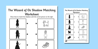 The Wizard of Oz Themed Shadow Matching Activity Worksheet - wizard of oz, shadow, matching, activity