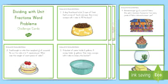 Dividing with Unit Fractions Word Problems Task Challenge Cards - division, fractions, unit fractions, word problems, problem solving, whole numbers