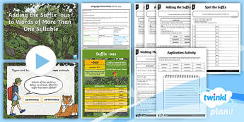 PlanIt Y5 Language Conventions: Suffix  -ous Lesson Pack - Language Conventions, year 5, naplan, phonics and word knowledge, suffix, grammatical form, ACELA151
