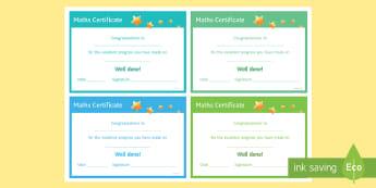 Maths 'Excellent Progress' Certificate - Rewards, Learning, Positive, Praise, Award, Certificate, Recognition