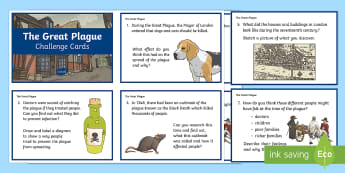 KS2 The Great Plague Research and Challenge Questions - KS2, history, research, ICT, challenge cards, Great Plague, Black Death