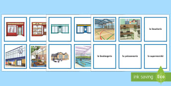 French Buildings Snap Card Game - KS2, French, Resources,buildings, places, town, shops, magasins, ville, snap, cards, pairs, game