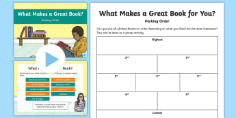 Pecking Order What Makes a Great Book? Activity Pack - Pecking Order, Diamond 9, prioritisation, listening and Talking, discussion topics, second level lit
