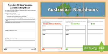 Australia's Neighbours Narrative Writing Lesson Pack - Year 3, ACHASSK067, Australian Curriculum, Geography, language, Vocabulary, research, lesson, spelli
