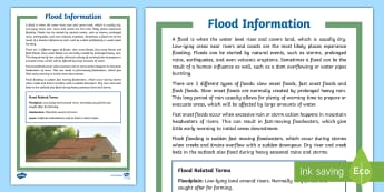 Flood Fact File - Australia Curriculum HASS The impact of bushfires or floods on environments and communities, ACHASSK