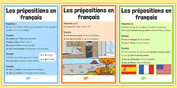 Les prépositions en français - french, prepositions de base, à, dans, en, A1