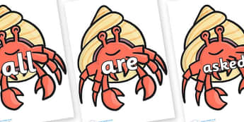 Tricky Words on Hermit Crabs - Tricky words, DfES Letters and Sounds, Letters and sounds, display, words