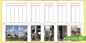 Il puzzle delle sequenze numeriche foto dinosauri Attività - seuquenza, numeri, numerale, numeriche, italiano, italian, fossili, dinosauri, materiale, scolastico