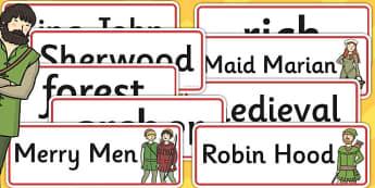 Robin Hood Word Cards - robin, hood, word, card, robin hood, tale