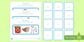 Rhyming Words Bingo - Rhyming words, bingo, games and activities, phonics, reading, cvc words, blends, word families, Kind