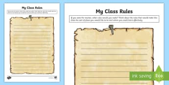 My Class Rules! Activity Sheet - first week back, new school year, new class activities, KS2, rules, worksheet