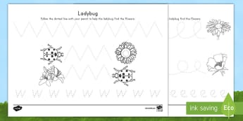 Ladybug Pencil Control Activity Sheets - USA Early Childhood Science: Life Cycles, pencil control, pencil activities, pre letter formation, b