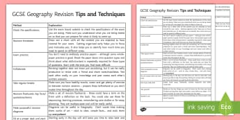 GCSE Geography Revision Tips and Techniques - Geography, revision, tips, techniques, GCSE,