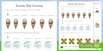 Summer Skip Counting Activity Sheet - multiples. summer, summer season, first day of summer, worksheet, summertime, skip counting, summer