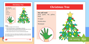 Christmas Tree Handprint Activity - Sensory, Art, Craft, Hand, Body Part, Paint, Print, Christmas, Christmas Tree, Special Education, Co