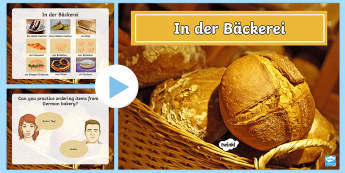 Ordering Items in a Bakery PowerPoint-German - In and Around Town, german, mfl, translation, town, presentation, map, food, bread, cakes, shop, sho