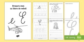 """Scrierea literelor """"e"""" și """"E"""" de mână Broșură cu activități - alfabetul, scriere, litere, de mână, grafisme"""