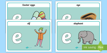 Initial 'e' Sound Playdough Mats - phonics, letters and sounds, phonemes, phase 2, EYFS, phonems, phinics, satipn, leters, letters and