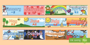 months ofthe year Display Borders - English/Mandarin Chinese - Months of the Year Display Borders - display, borders, months, months of the yearenglish, EAL Chines