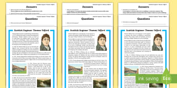 Scottish Engineer Thomas Telford Differentiated Reading Comprehension Activity - CfE, Scotland, Scottish, famous Scots, significant individuals, science, engineering, STEM, people p