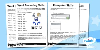 Microsoft Word Skills: Home Learning Tasks - Year 3 Computing Lesson Pack