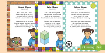 Maths: 3D Shapes Songs and Rhymes Resource Pack - 3d, maths, shape space and measure, cube, cuboid, sphere, singing, songtime