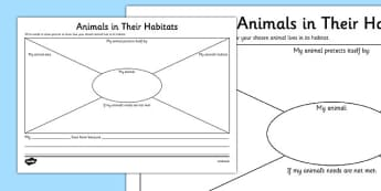 Animals in Their Habitats Worksheet - Science, Year 1, Habitats, Australian Curriculum, Living, Living Adventure, Environment, Living Things, Animals, Worksheet