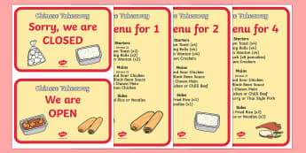 Chinese Take Away Role Play Signs - chinese takeaway, role play, chinese takeaway sign, chinese takeaway role play, chinese takeaway roleplay sign