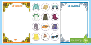Winter and Summer Clothes Sorting Activity Spanish/Español - Winter, KS2, activity, sorting, clothes, summer, Spanish