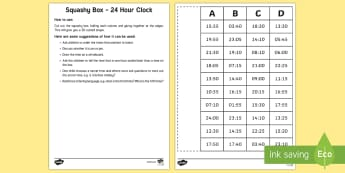 Squashy Box - 24hr Clock - Mental Maths Warm Up + Revision - Northern Ireland, mental maths, 24 hour clock, the clock, squashy