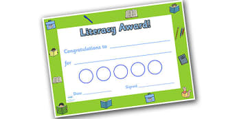 Literacy Themed Sticker Reward Certificate 30mm - literacy reward certificate, literacy certificate, literacy sticker certificate, sticker certificate
