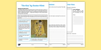 The Kiss by Klimt Art Appreciation Activity Sheet - Klimt, Kiss, art, activity, sheet, worksheet