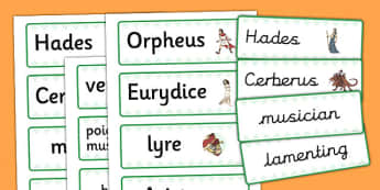 Orpheus and Eurydice Word Cards - word cards, orpheus, eurydice