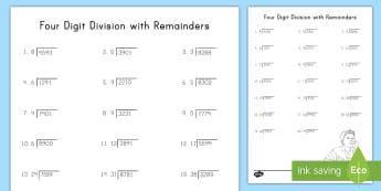 Four Digit Division with Remainders Activity - long division, remainders, problem solving, dividend, divisor, quotient
