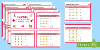 UKS2 MojiMaths 3 Number Addition  Differentiated Challenge Cards - Mathemoji, Solvemoji, Emoticon, Emoji, Algebra